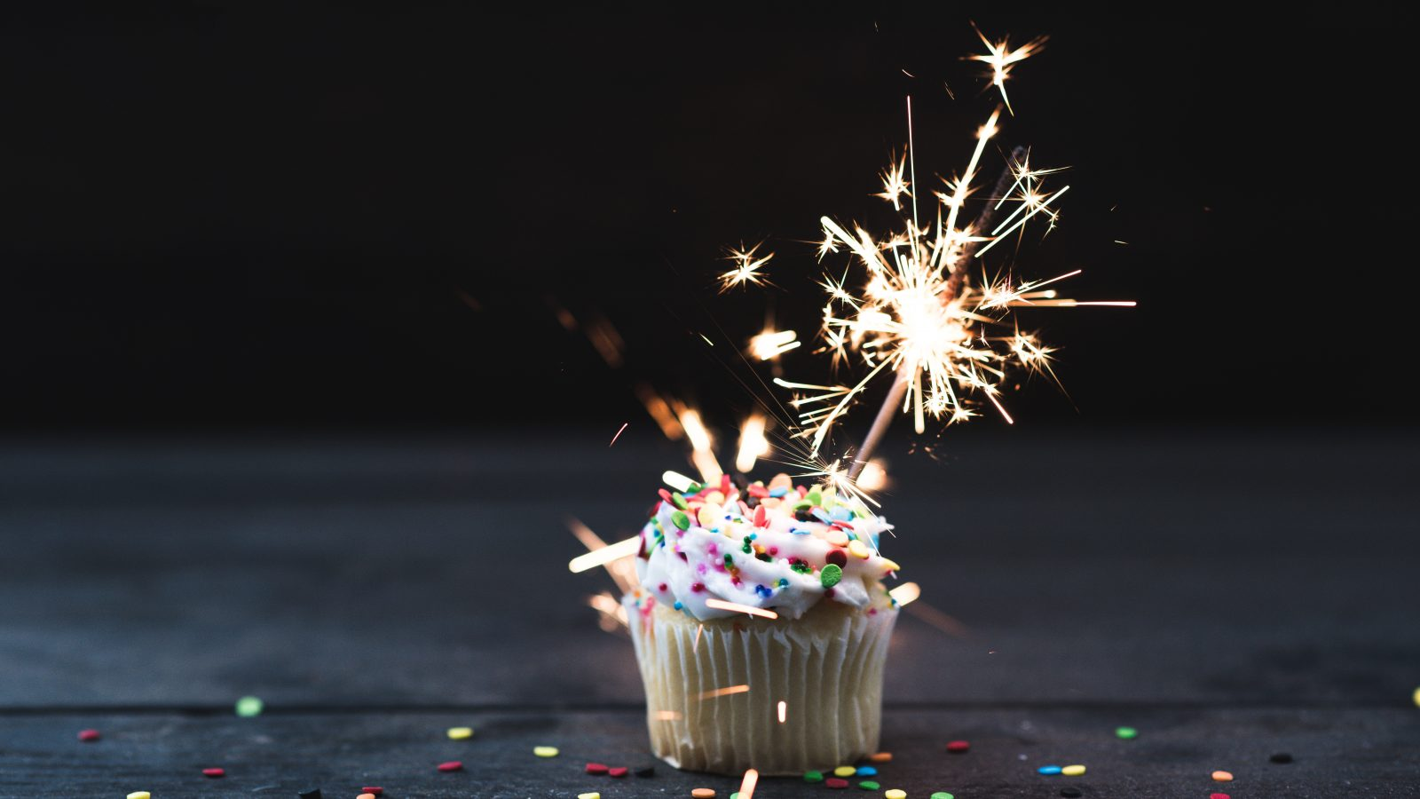 cupcake with sparkler on top