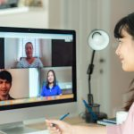 Worker on video conference