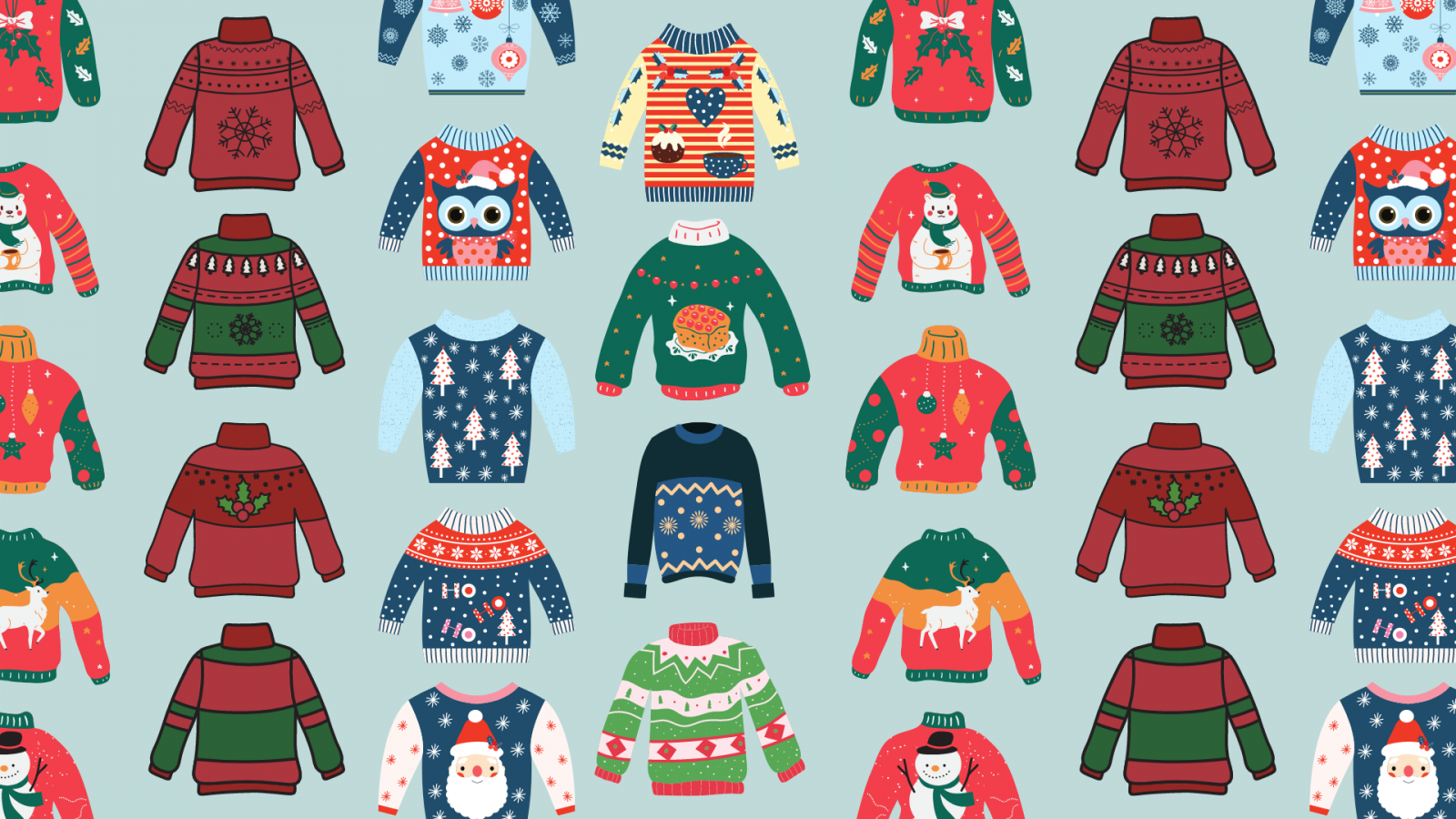 Ugly winter sweaters on a blue background