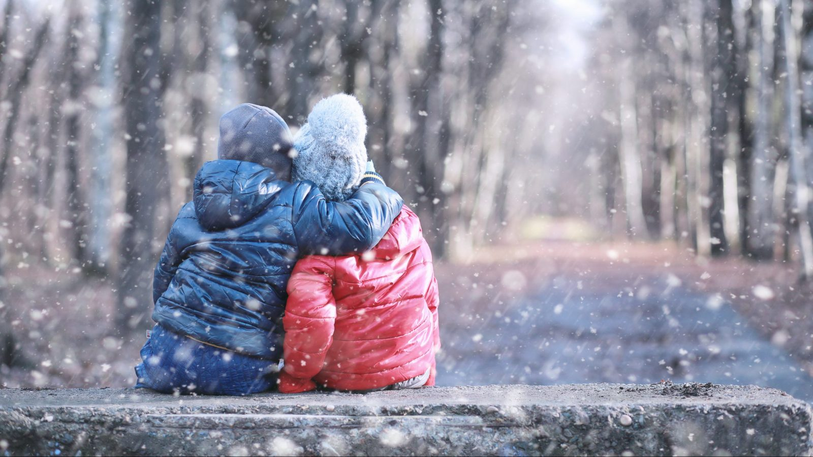Kids sitting on a bench in the snow